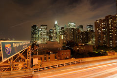 Manhattan From the Brooklyn Bridge. View of the New York Skyline from the Brooklyn Bridge Royalty Free Stock Photography