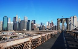 Manhattan from Brooklyn Bridge Stock Photos