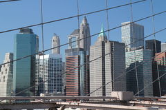 Manhattan from Brooklyn Bridge Royalty Free Stock Images