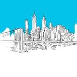 Manhattan with Brooklyn Bridge, Blue Series. Hand-drawn Vector Artwork Stock Image