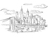 Manhattan and Brooklyn Bridge detailed Sketch Royalty Free Stock Photo