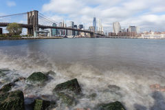 Manhattan and Brooklyn Bridge from the Hudson river Stock Image