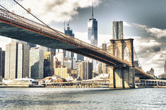 Manhattan with Brooklyn Bridge. Manhattan skyline with Brooklyn Bridge - HDR image Royalty Free Stock Photo
