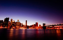 Manhattan and Brooklyn bridge in night landscape Royalty Free Stock Photography