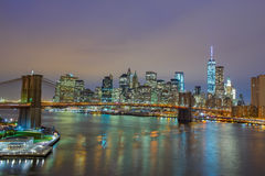 Manhattan and the Brooklyn bridge night view Royalty Free Stock Photo