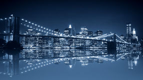 Manhattan and Brooklyn bridge night view Royalty Free Stock Photos