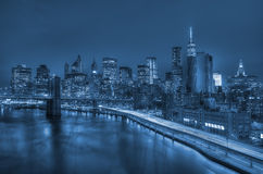 Manhattan and Brooklyn bridge night view Stock Image