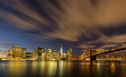 Manhattan from Brooklyn Bridge Park. New York City Manhattan from Brooklyn Bridge Park DUMBO in the evening royalty free stock photo