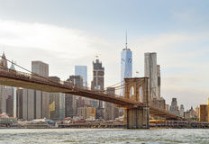 Manhattan with Brooklyn Bridge. Stock Image