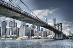 Manhattan with Brooklyn Bridge. Manhattan skyline with Brooklyn Bridge - HDR image Stock Photography