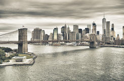 Manhattan with Brooklyn Bridge at twilight. Royalty Free Stock Photos