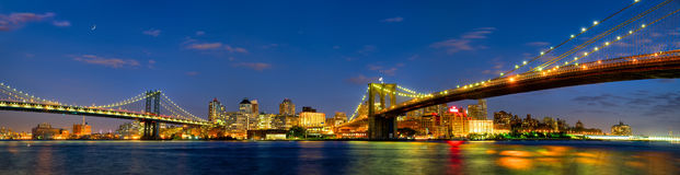 Manhattan and Brooklyn Bridges panorama Stock Photography