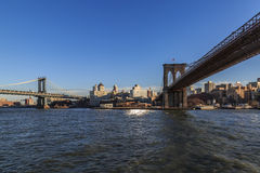 Manhattan and brooklyn bridges. View between manhattan and brooklyn bridges from brooklyn side Royalty Free Stock Photos