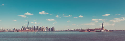 Manhattan Brooklyn and the Statue of Liberty from Liberty State Royalty Free Stock Image
