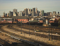 Manhattan from a Brooklyn subway station Stock Images