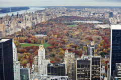 Manhattan buildings and central park at fall. Stock Photography
