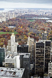 Manhattan buildings and central park at fall. Royalty Free Stock Photo