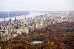 Manhattan buildings and central park at fall. Royalty Free Stock Photography