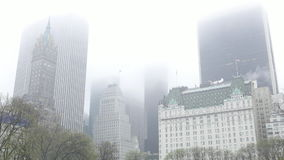 Manhattan buildings in the mist - on a rainy day stock video