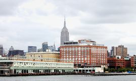 Manhattan Buildings at Pier 57 along the Hudson River. Royalty Free Stock Photos