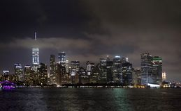 Manhattan buildings viewed from Brooklyn side and East river New Royalty Free Stock Photography
