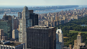 Manhattan and Central Park. A view from the Rockefeller center looking north over Manhattan Royalty Free Stock Image