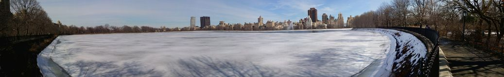 Panorama central-park in the winter stock image