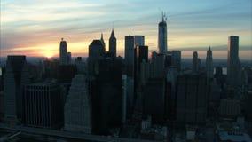 Manhattan city building sunrise aerial. Video of manhattan city building sunrise aerial stock footage