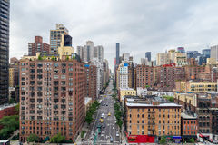 Manhattan cityscape from  Roosevelt Island Tramway (1st Ave) Royalty Free Stock Images