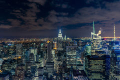 Manhattan cityscape with skyscrapers at night , New York City (a Stock Images