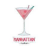 Manhattan cocktail for a customer illustration for bar business Stock Photography