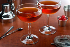Manhattan Cocktail. A delicious manhattan cocktail with rye, sweet vermouth, and bitters Royalty Free Stock Image