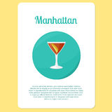 Manhattan cocktail drink in circle icon Stock Photography