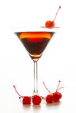 Manhattan cocktail garnished with a cherry Royalty Free Stock Photo