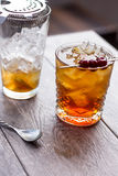 Manhattan Cocktail. On the rocks garnished with cherries Royalty Free Stock Image