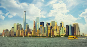 Manhattan colorful vibrant panorama. Manhattan colorful vibrant city panorama - New York, USA Royalty Free Stock Image