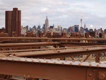 Manhattan dal ponte di Brooklyn Fotografie Stock Libere da Diritti