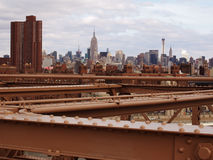Manhattan de passerelle de Brooklyn Photos libres de droits