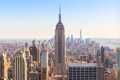 Manhattan de stad in, Empire State Buildingclose-up Stock Fotografie