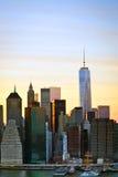 Manhattan do centro no crepúsculo Foto de Stock