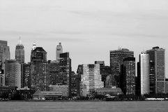 Manhattan downtown in blue royalty free stock photo
