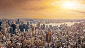 Manhattan downtown and New Jersey skyline skyscrapers at sunset Royalty Free Stock Photos