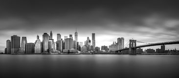 NEW YORK, UNITED STATES OF AMERICA - APRIL 30, 2017: Manhattan downtown skyline from the Brooklyn Bridge Park in New York City. Stock Images