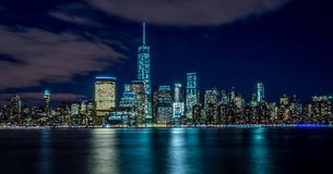 Manhattan Downtown view at night stock photo