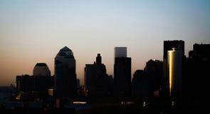 Manhattan du centre au coucher du soleil Photographie stock