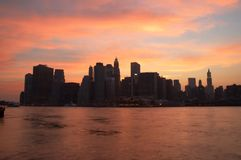 Manhattan at dusk royalty free stock image