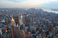 Manhattan dusk. Wide angle view of manhattan skyline from empire state Royalty Free Stock Photography