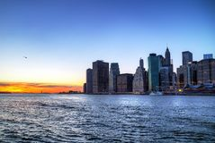 Manhattan and East River at sunset stock photography