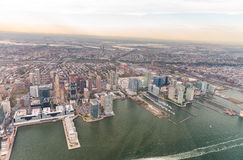 Manhattan East Side as seen from helicopter - New York City - US Royalty Free Stock Photography