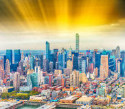 Manhattan East Side as seen from helicopter - New York City - US Stock Photography